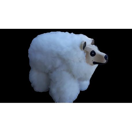 Niedźwiedź DUŻY - taboret obszyty skórą naturalną